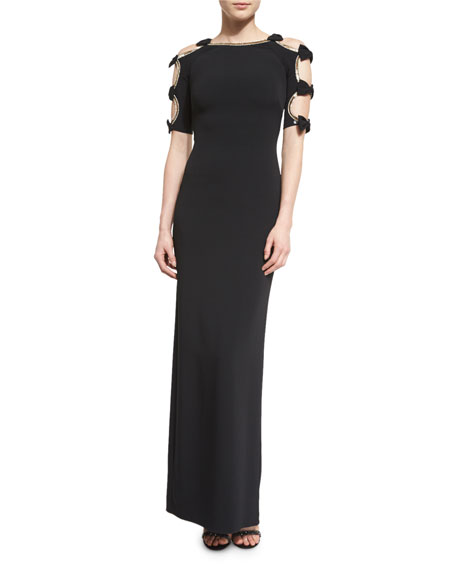 Jenny Packham Bow-Sleeve Column Gown W/Cutouts, Black