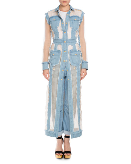 Long Four-Pocket Destroyed Denim Coat Dress, Light Blue