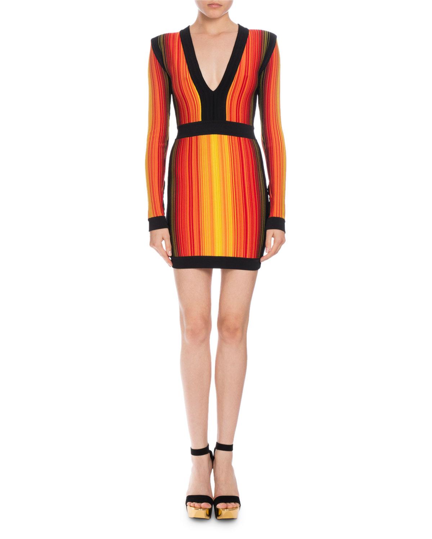 7e987f2f Balmain Striped V-Neck Long-Sleeve Mini Dress | Neiman Marcus