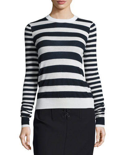 Striped Cashmere Long-Sleeve Top