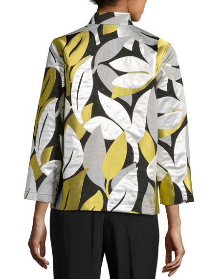 Easy-Fit Leaf Jacquard Jacket, Multi, Petite