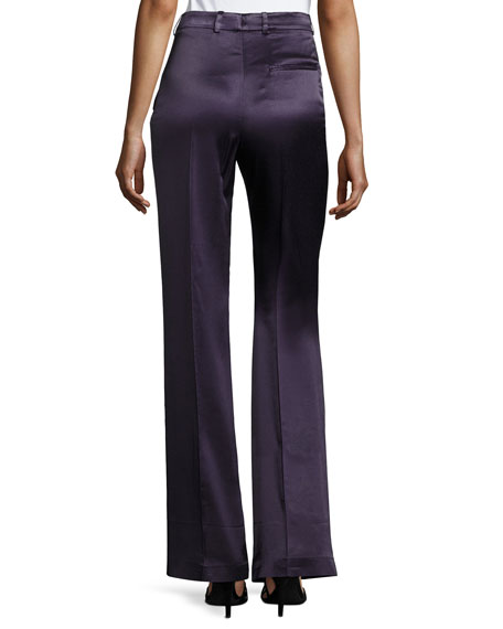 Fergus Satin Wide-Leg Evening Pants, Marine Blue