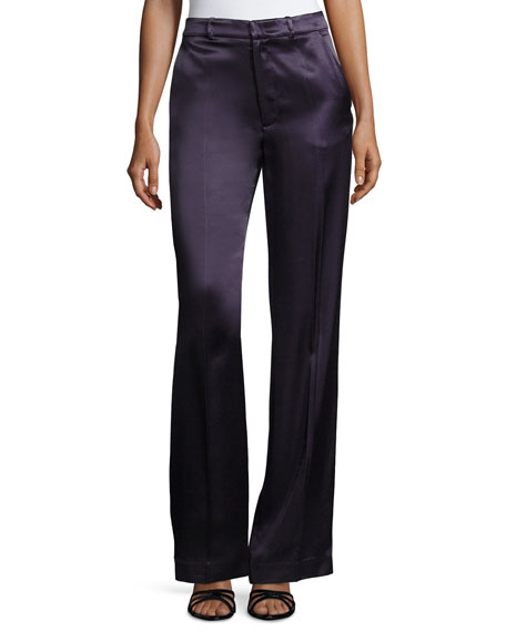 Joseph Fergus Satin Wide-Leg Evening Pants, Marine Blue