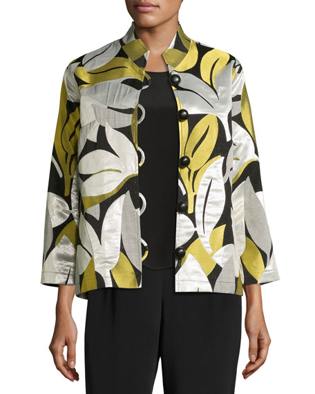 Caroline Rose Easy-Fit Leaf Jacquard Jacket, Multi, Plus