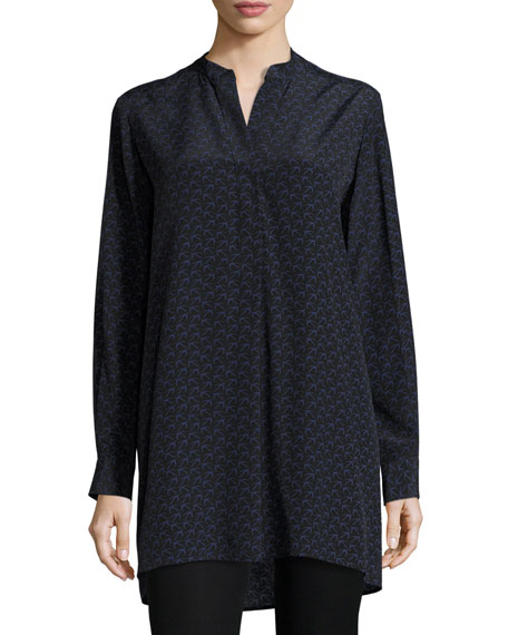 Joseph Dara Bird-Print Silk Tunic, Black