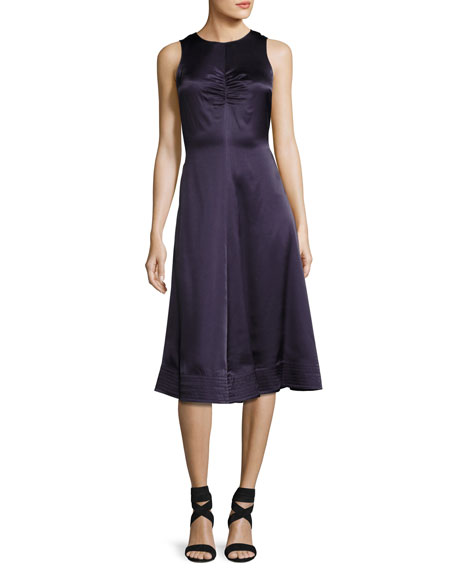 Joseph Brandon Sleeveless Satin Swing Dress, Marine
