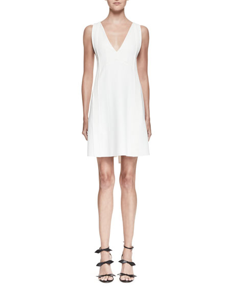 Chloe Sleeveless Tie-Back Mini Dress, White