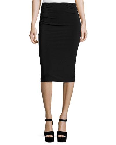 Ciera Ruched-Side High-Waist Pencil Skirt, Black