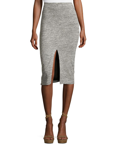 Alice + Olivia Spiga Slit-Front Knit Midi Pencil