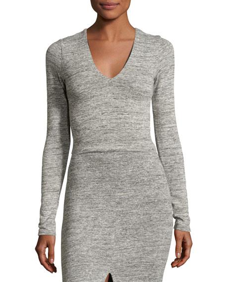 Jori V-Neck Long-Sleeve Crop Top, Gray