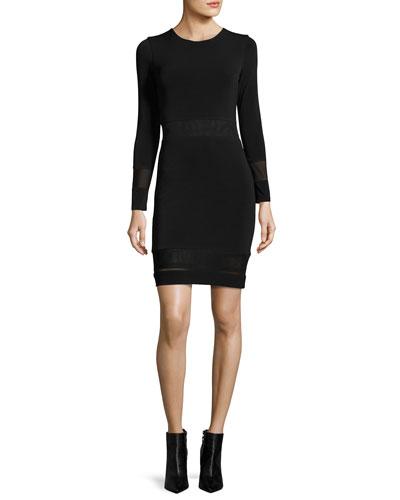 Madie Mesh-Panel Fitted Dress, Black