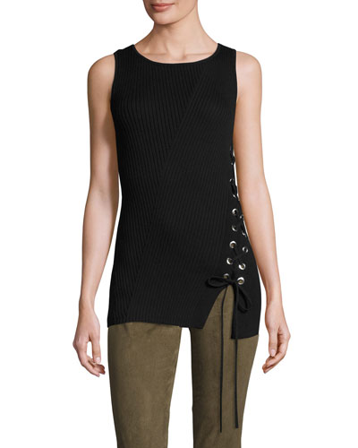 Zoe Sleeveless Sweater w/Lace-Up Side, Black
