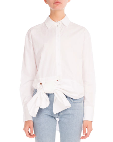 Asymmetric-Bow Long-Sleeve Blouse, White