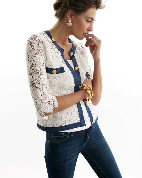 3/4-Sleeve Crochet Cardigan W/ Denim Trim, Petite