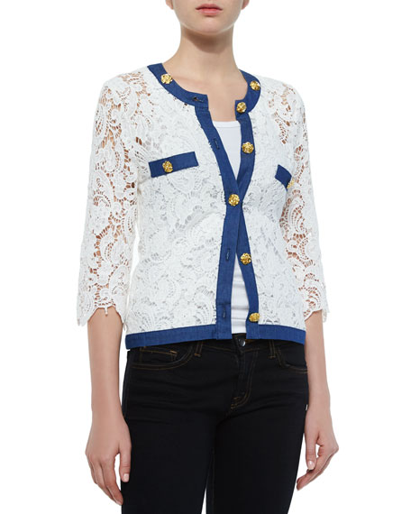 Michael Simon 3/4-Sleeve Crochet Cardigan W/ Denim Trim,
