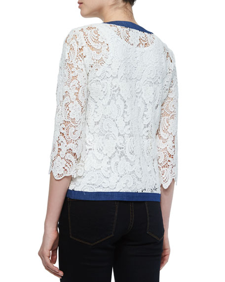 3/4-Sleeve Crochet Cardigan W/ Denim Trim, Plus Size