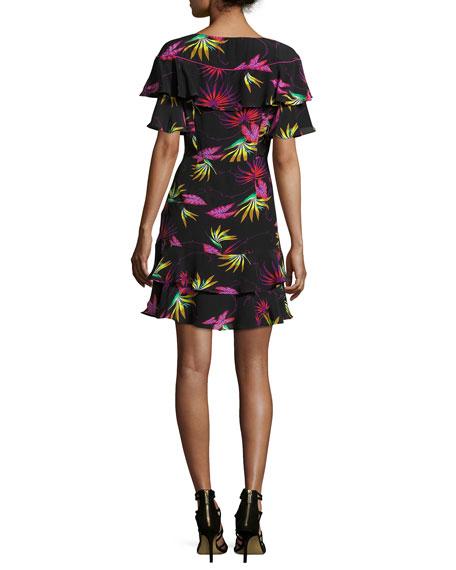 Jungle-Print Ruffled Dress, Black