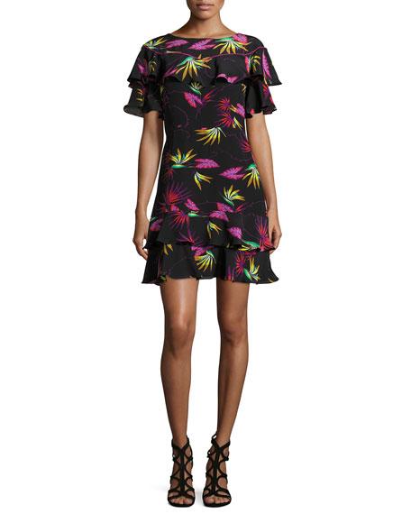 Etro Jungle-Print Ruffled Dress, Black