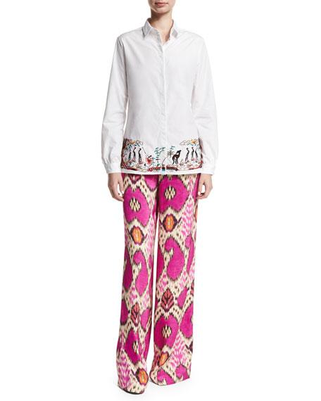 Ikat-Print Silk Palazzo Pants, Multi