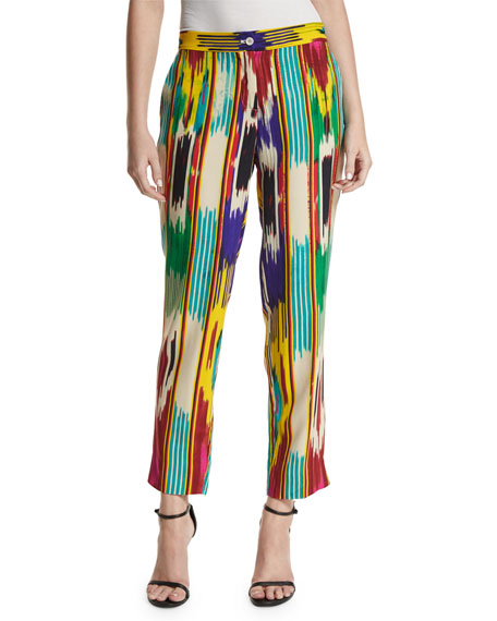 Ikat-Print Ankle Pants, Pink/Multi