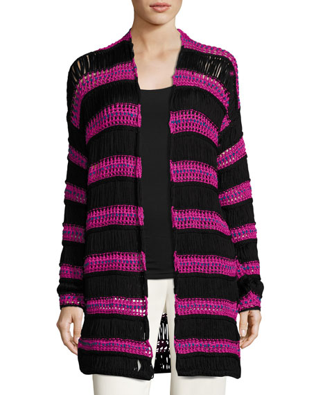 Etro Striped Net Knit Cardigan, Black/Pink