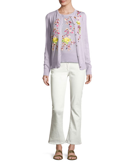 Floral-Embroidered Half-Sleeve Sweater, Purple