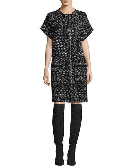 Liya Tweed Short-Sleeve Artisan Topper, Black/White
