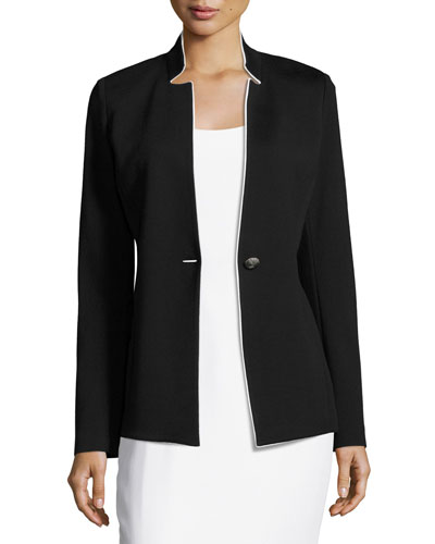 Milano Knit Notch-Collar Jacket, Black/White Sale
