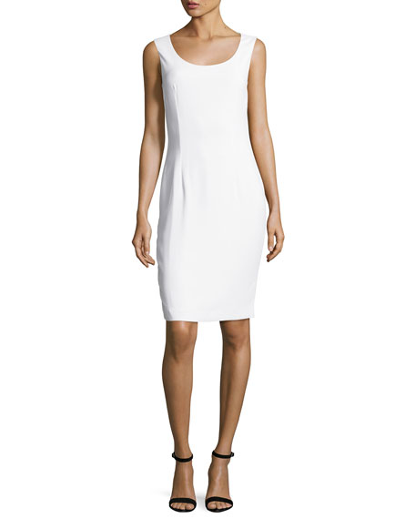 St. John Collection Classic Cady Scoop-Neck Dress, White