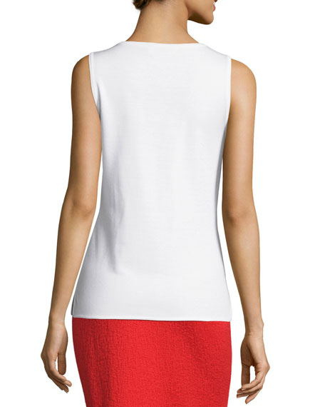 Milano Knit V-Neck Shell, White