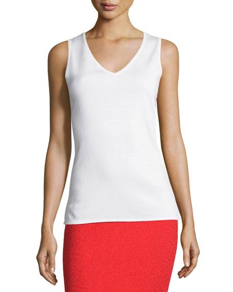 Milano Knit V-Neck Shell, White