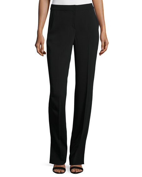 St. John Collection Classic Stretch Cady Straight-Leg Pants,