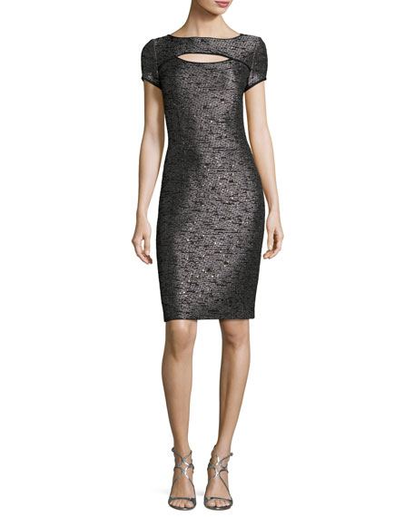 St. John Collection Anaya Sequined Short-Sleeve Dress, Black