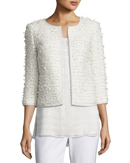 St. John Collection Sahara Fringe 3/4-Sleeve Jacket, Cream