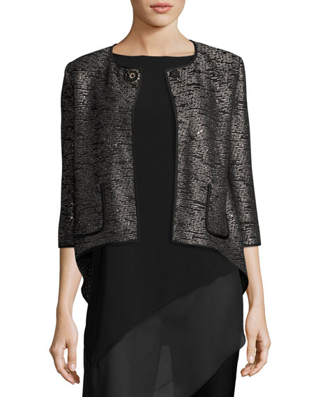St. John Collection Anaya Sequined 3/4-Sleeve Jacket, Black