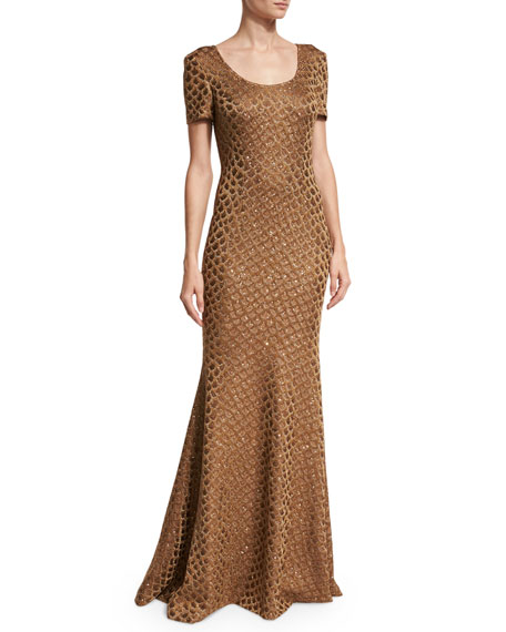 Panthera Sequined Short-Sleeve Mermaid Gown, Bronze