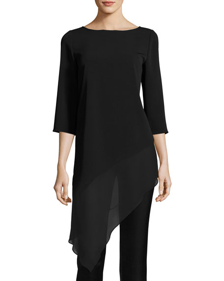 St. John Collection Cady Asymmetric-Hem 3/4-Sleeve Top, Black