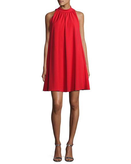 Badgley Mischka Sleeveless Mock-Neck Crepe Swing Dress, Red