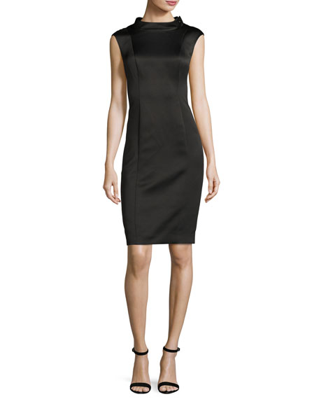 Badgley Mischka Sleeveless Stretch Satin Cocktail Dress, Black