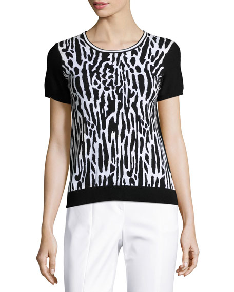 Leopard-Jacquard Short-Sleeve Sweater, Black/White