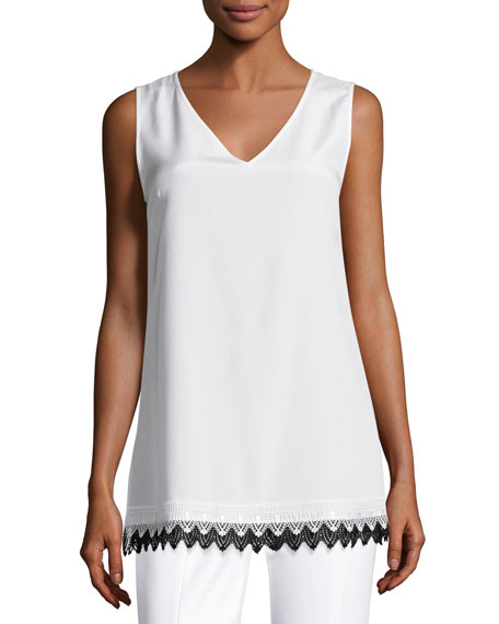 St. John Collection Lace-Hem V-Neck Shell, White/Black