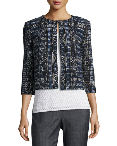 Kian Tapestry-Knit 3/4-Sleeve Jacket, Blue Pattern