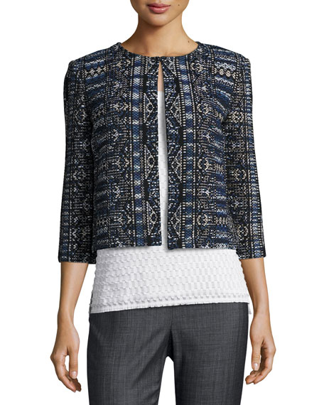St. John Collection Kian Tapestry-Knit 3/4-Sleeve Jacket, Blue
