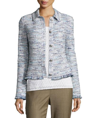Prishna Space-Dye Tweed Jacket, Blue/White