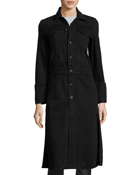 Washed Denim Button-Front Trenchcoat, Black