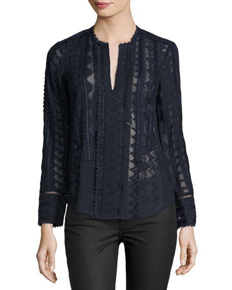 Rebecca Taylor Embroidered Lace Chiffon Top, Dark Blue