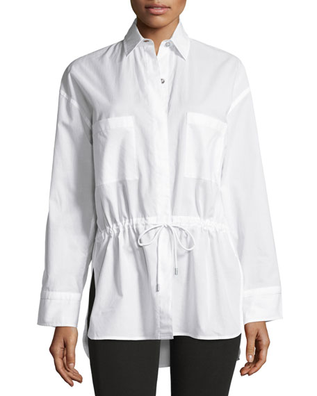 Helmut Lang Lawn Cotton Drawstring-Waist Shirt, White