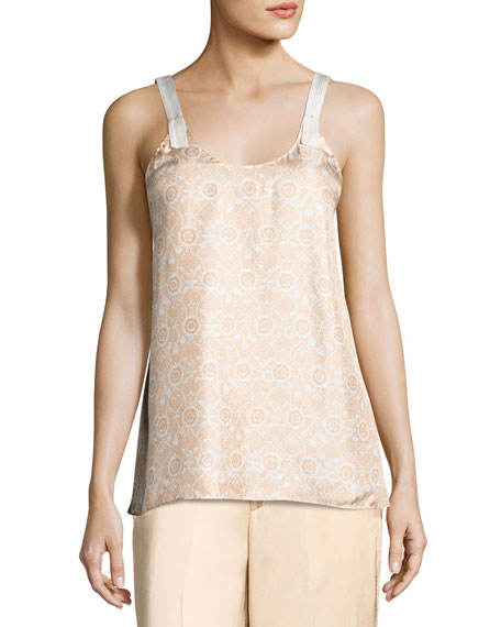 Helmut Lang Vine Silk Camisole Top, Orange