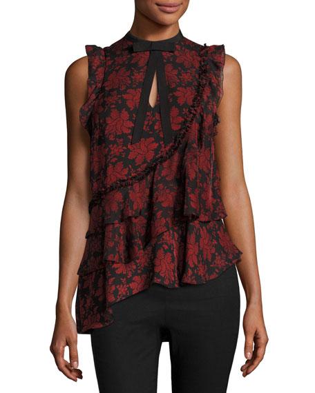 Zaire Silk Asymmetric Ruffle Top