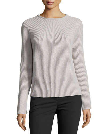 Helmut Lang Ribbed Wool-Cashmere Bell-Sleeve Sweater, Gray
